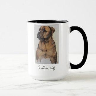 水彩画で絵を描かれるBullmastiff犬 マグカップ