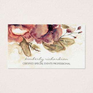 水彩画によってはヴィンテージのあずき色のエレガントが開花します 名刺
