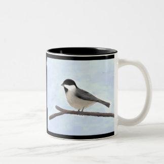 水彩画によって黒おおわれる《鳥》アメリカゴガラのマグ ツートーンマグカップ