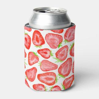 水彩画のいちごはパターンをスライスします 缶クーラー