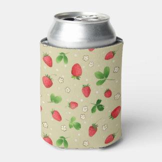 水彩画のいちごパターン 缶クーラー