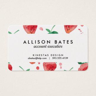 水彩画のいちごピンク及び赤く色彩の鮮やかな果実 名刺
