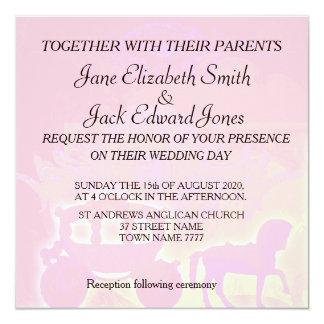 水彩画のおとぎ話のピンクの結婚式の招待 カード