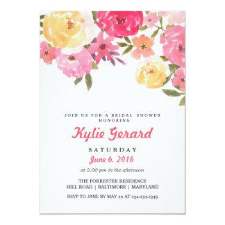 水彩画のお洒落な花のブライダルシャワー カード