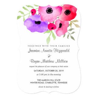水彩画のお洒落な花の結婚式 12.7 X 17.8 インビテーションカード