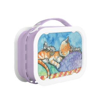 水彩画のかわいいママおよびベビーの虎猫猫 ランチボックス