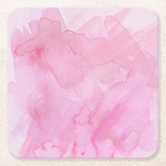 水彩画のかわいらしいピンク-すべての選択 スクエアペーパーコースター