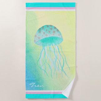 水彩画のくらげのターコイズID403 ビーチタオル
