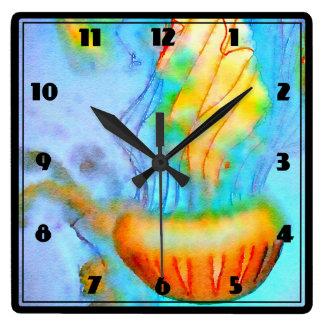 水彩画のくらげの柱時計 スクエア壁時計