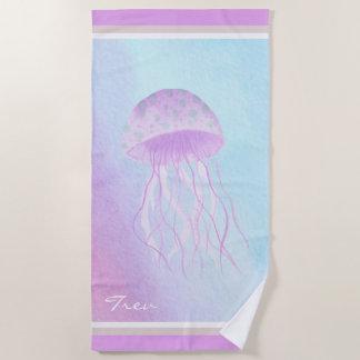 水彩画のくらげの蘭のピンクID403 ビーチタオル