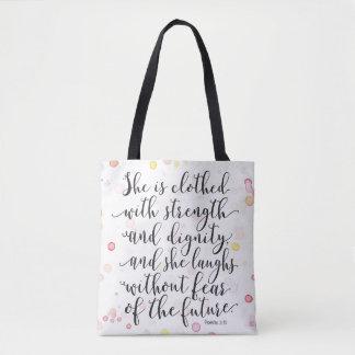 水彩画のしぶきの諺の31:25のトートバック トートバッグ
