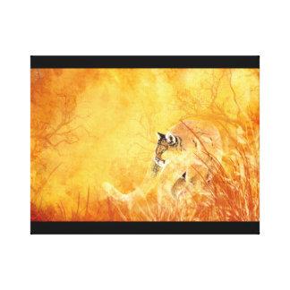 水彩画のつきまとうクーガーの動物のオオヤマネコ キャンバスプリント