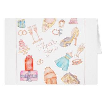 水彩画のの後結婚式のノートありがとう カード
