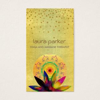 水彩画のはすの花のロゴのヨガの治療の健康 名刺
