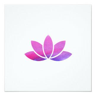 水彩画のはすの花の招待状 カード