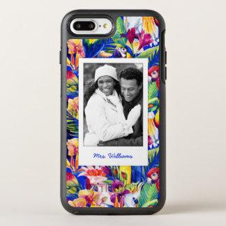 水彩画のやしPattern|はあなたの写真を加えましたり及び示します オッターボックスシンメトリーiPhone 8 Plus/7 Plusケース