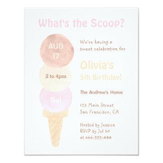 水彩画のアイスクリームのバースデーパーティ招待状 10.8 X 14 インビテーションカード