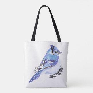 水彩画のアオカケスの鳥の自然の芸術 トートバッグ