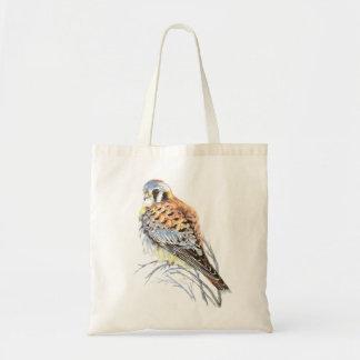 水彩画のアメリカのKestrel、《鳥》ハヤブサの鳥のタカ トートバッグ