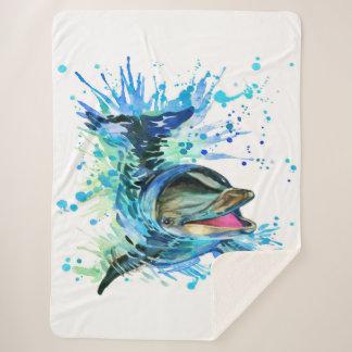 水彩画のイルカの大きいSherpa毛布 シェルパブランケット
