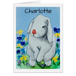 水彩画のウサギ カード