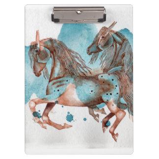 水彩画のウマ科のな芸術の用箋挟 クリップボード