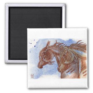水彩画のウマ科のな芸術 マグネット