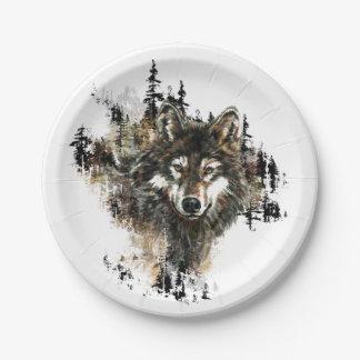 水彩画のオオカミ山動物の芸術 ペーパープレート