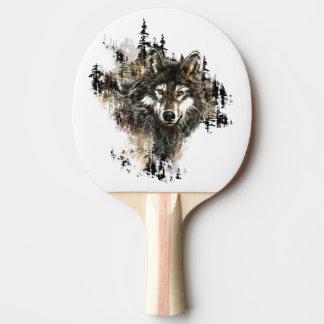 水彩画のオオカミ山動物自然の芸術 卓球ラケット