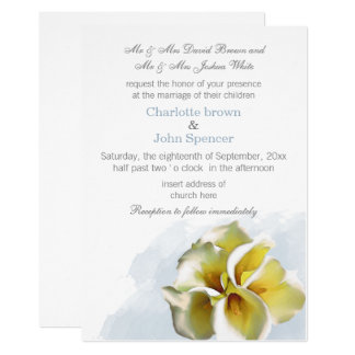 水彩画のオランダカイウユリの花の結婚式 カード