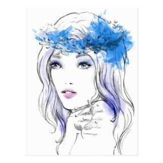 水彩画のカッコいいのファッションの手描きのイラストレーション ポストカード