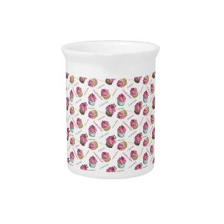 水彩画のカップケーキ ピッチャー