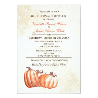 水彩画のカボチャ秋のリハーサルの夕食の招待 カード