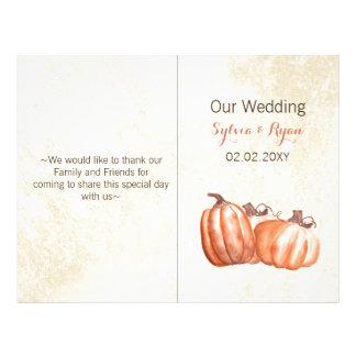 水彩画のカボチャBiの折目の結婚式プログラム チラシ
