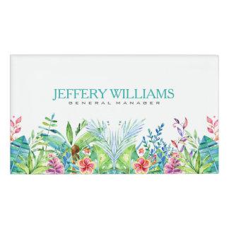 水彩画のカラフルな熱帯花 名札