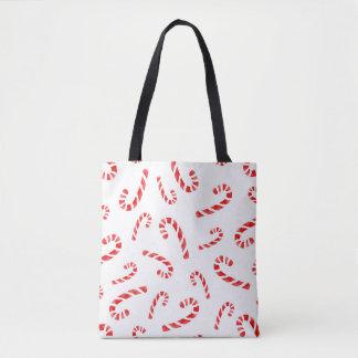 水彩画のキャンディ・ケーンパターン トートバッグ