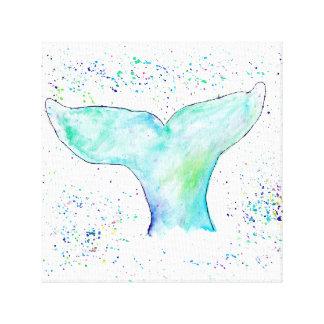 水彩画のクジラの尾キャンバス キャンバスプリント