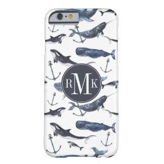 水彩画のクジラ及びいかりパターン BARELY THERE iPhone 6 ケース