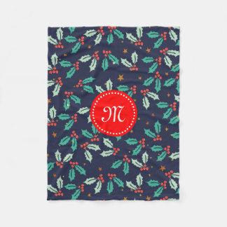 水彩画のクリスマスのヒイラギ及び赤い果実パターン フリースブランケット