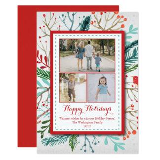 水彩画のクリスマスの休日3の(3)写真カード カード