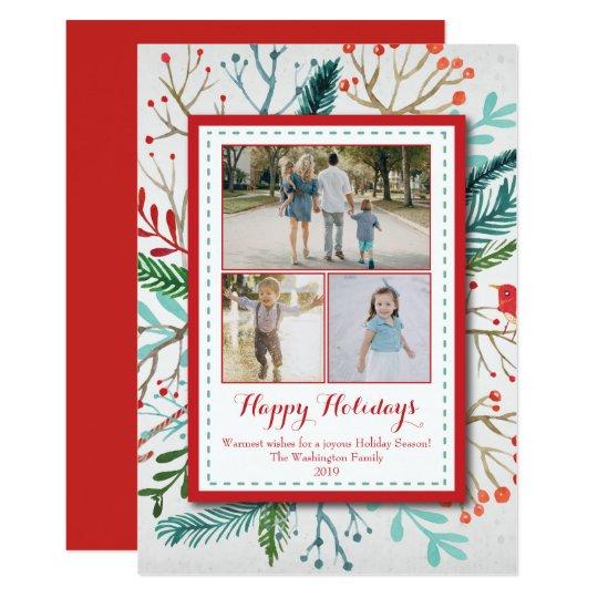 水彩画のクリスマスの休日3の(3)写真カード 12.7 X 17.8 インビテーションカード