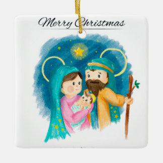 水彩画のクリスマスツリーのオーナメントの神聖な家族 セラミックオーナメント