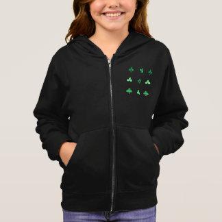 水彩画のクローバーの葉との女の子のジッパーのフード付きスウェットシャツ スウェットシャツ