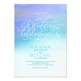 水彩画のグラデーションで青くモダンなタイポグラフィの結婚 カード