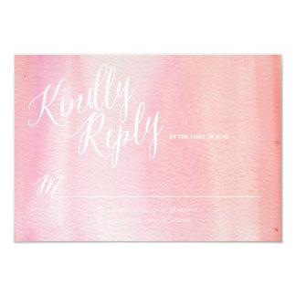 水彩画のグラデーションなピンクの応答カード カード