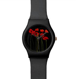 水彩画のケシの黒 腕時計