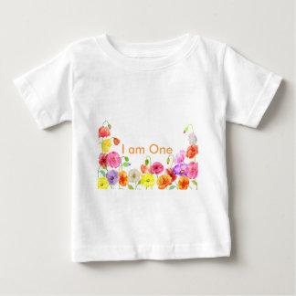 水彩画のケシ分野 ベビーTシャツ