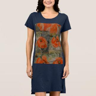 水彩画のケシ ドレス