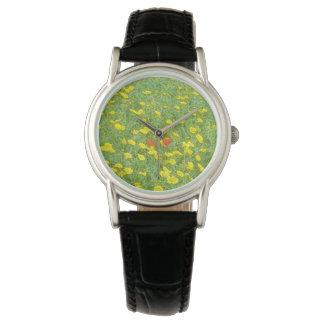 水彩画のケシ 腕時計