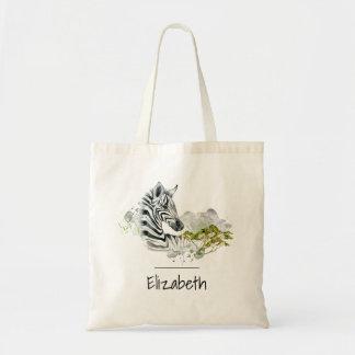 水彩画のサファリのシマウマの野生のエキゾチックな動物 トートバッグ